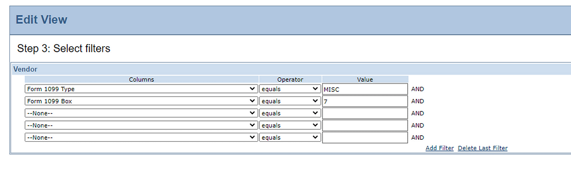 Intacct 1099 Select Filters